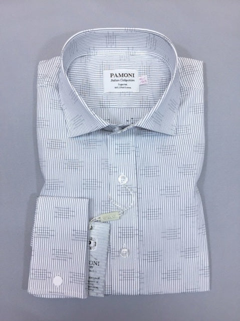 GREY STRIPE PRINT SLIM FIT SHIRT