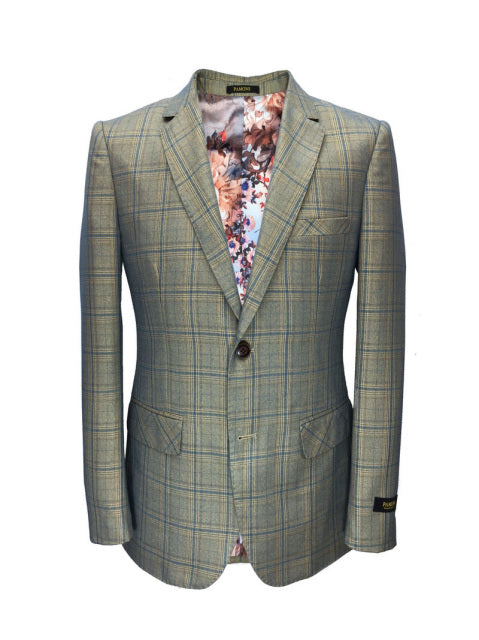 GREEN CHECK SLIM FIT BLAZER