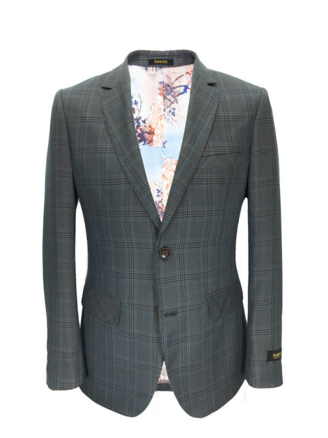 GREY CHECK SLIM FIT BLAZER