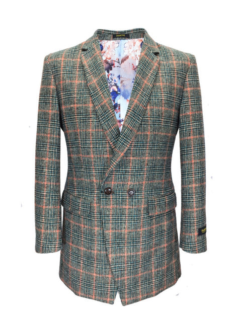 HOUNDSTOOTH GREEN/ORANGE CHECK 3/4 COAT