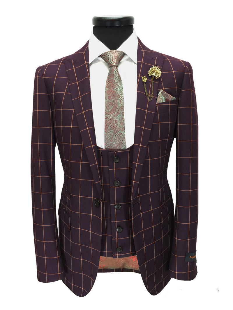e839279f009 MAROON CHECK ONE BUTTON 3-PIECE SUIT - Better Look Shop