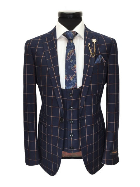 NAVY CHECK ONE BUTTON 3-PIECE SUIT