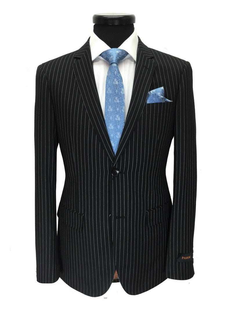 BLACK PINSTRIPE 2-BUTTON SLIM FIT SUIT