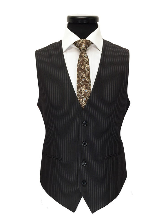 BLACK BROWN PINSTRIPE TWO BUTTON 3-PIECE SUIT