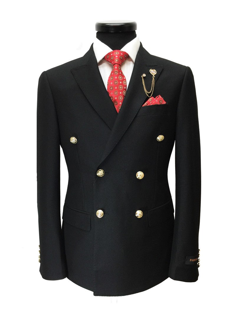 BLACK DOUBLE BREASTED SLIM FIT BLAZER