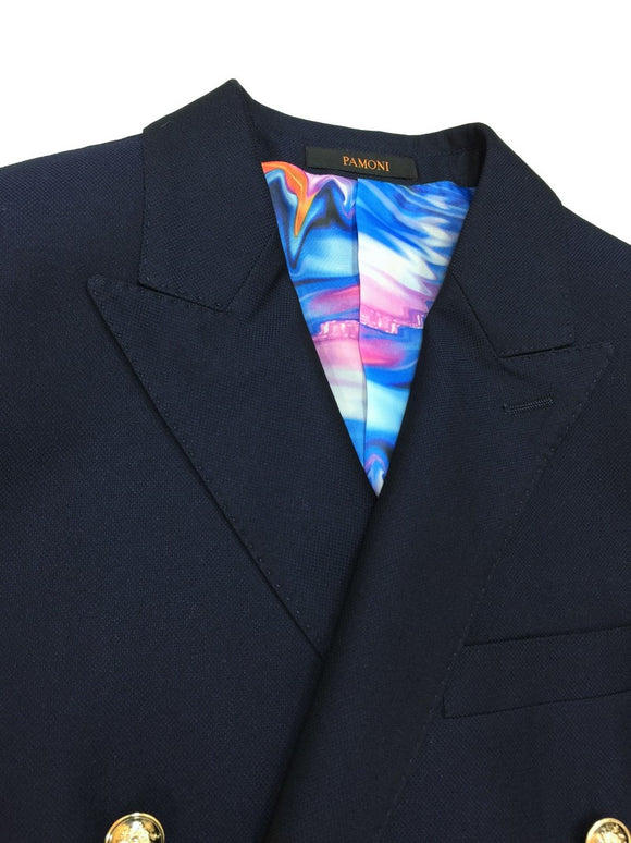 NAVY DOUBLE BREASTED SLIM FIT BLAZER