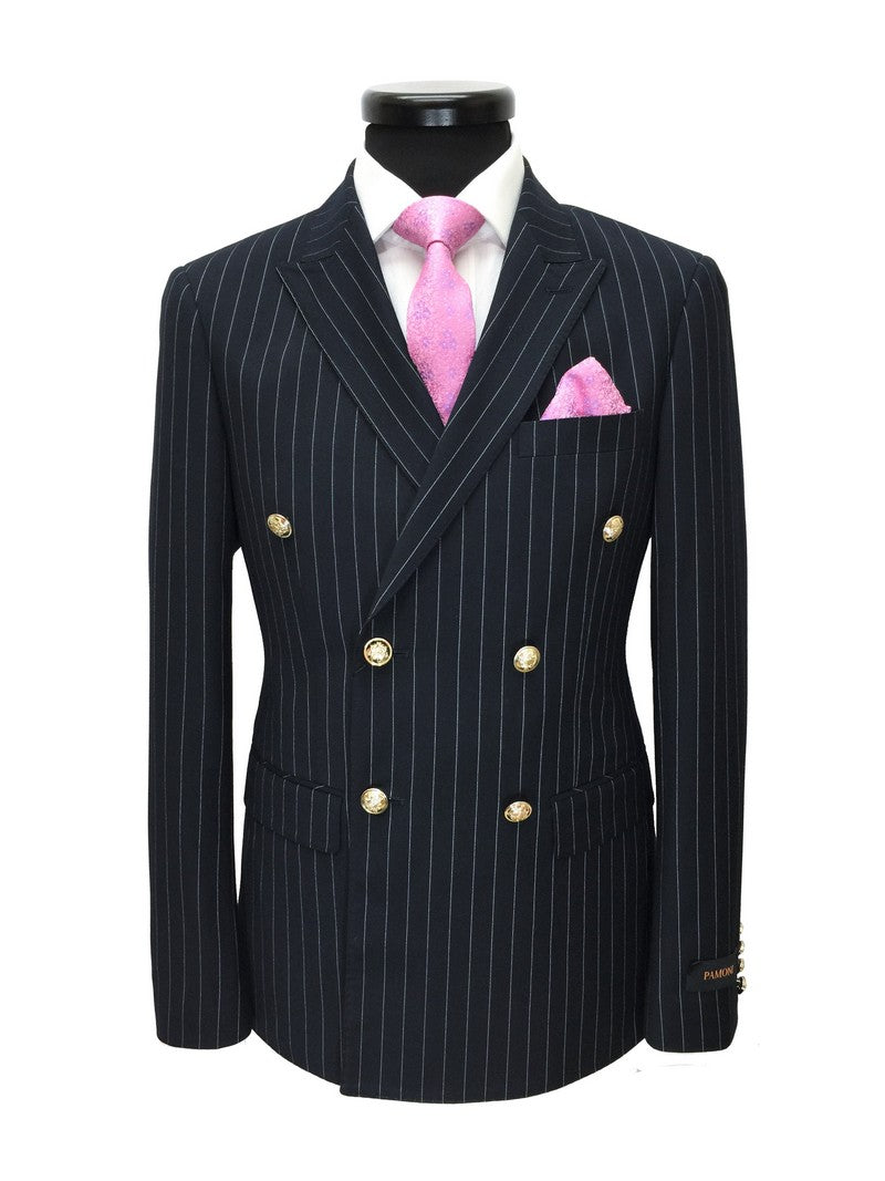 NAVY PINSTRIPE DOUBLE BREASTED SLIM FIT BLAZER