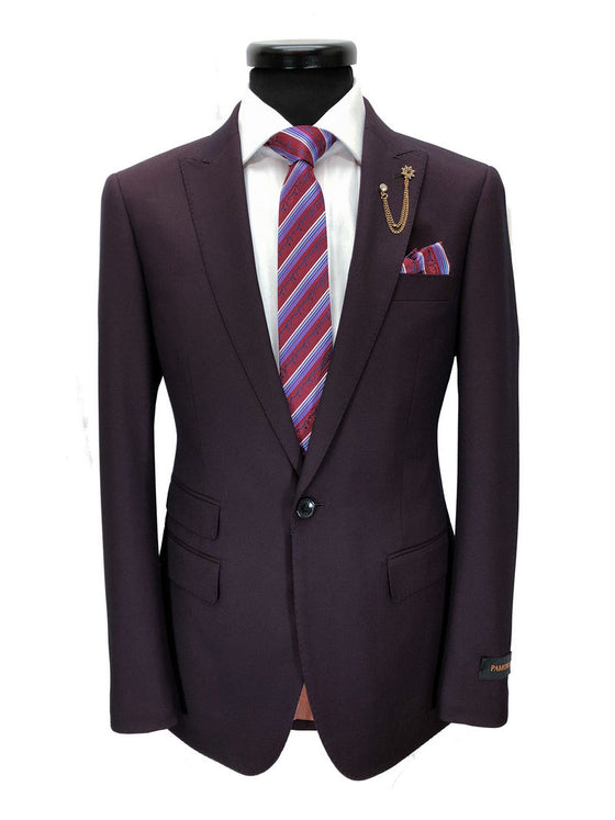 BURGUNDY BIRDSEYE ONE BUTTON SLIM FIT SUIT