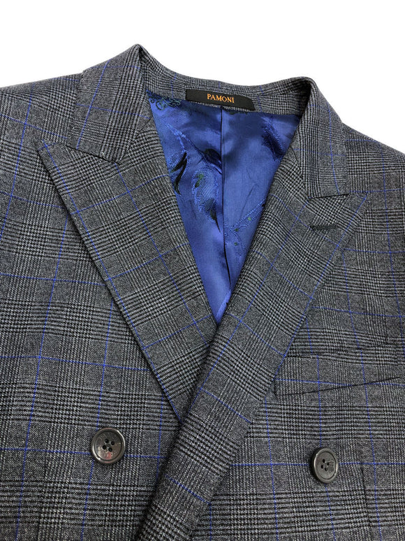 GREY PRINCE OF WALES CHECK DOUBLE BREASTED SUIT