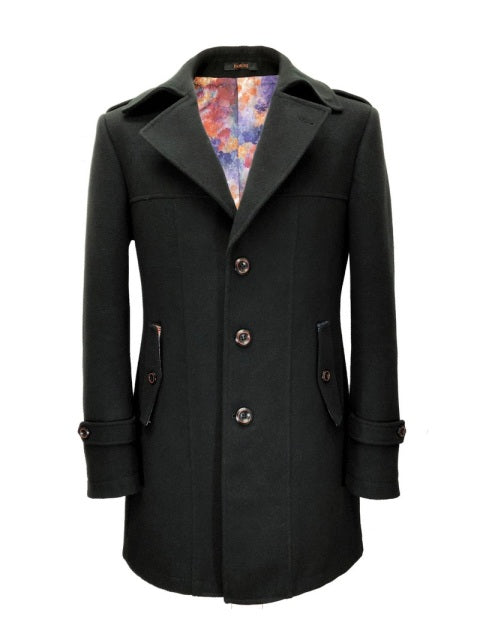 Slim Fit Black Wool Blend Coat