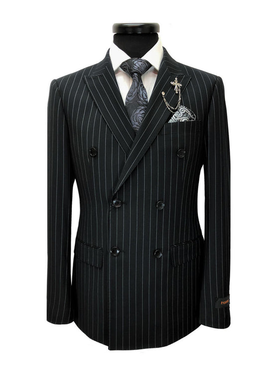 BLACK PINSTRIPE DOUBLE BREASTED SUIT
