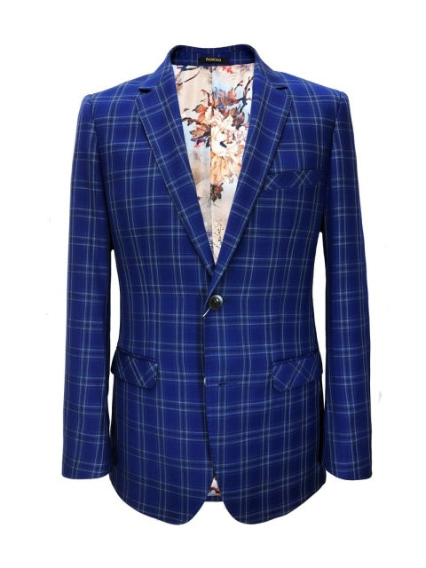 ROYAL BLUE CHECK SLIM FIT BLAZER