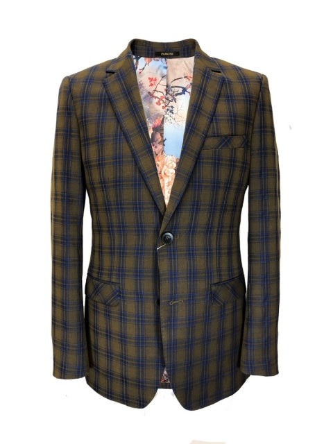 BROWN ROYAL BLUE CHECK SLIM FIT BLAZER
