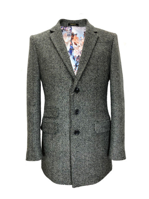 GREY HERRINGBONE SLIM FIT COAT