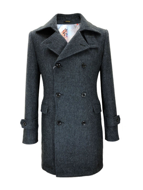GREY/BLUE SLIM FIT DOUBLE BREASTED COAT