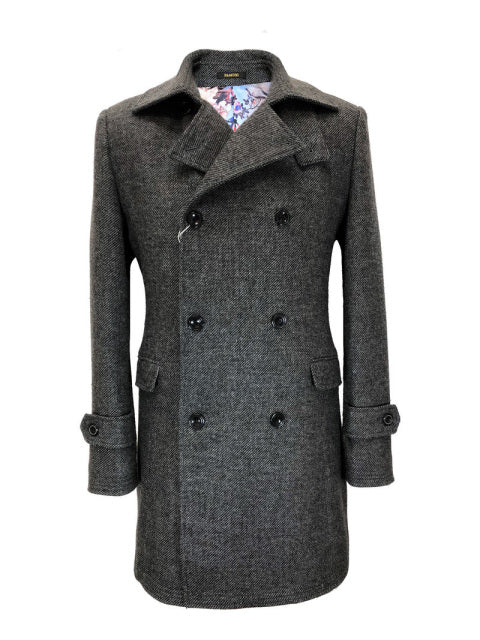 CHARCOAL GREY SLIM FIT DOUBLE BREASTED COAT
