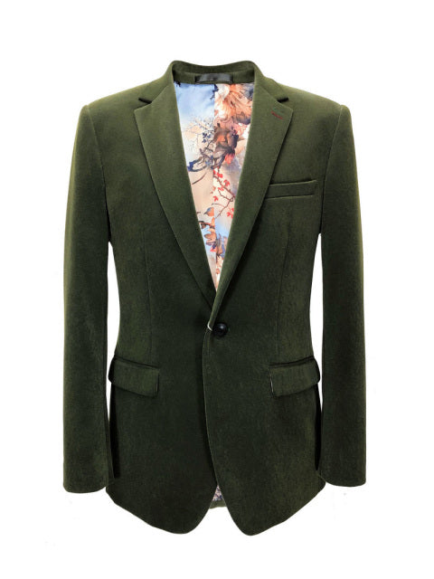 GREEN VELVET SLIM FIT BLAZER