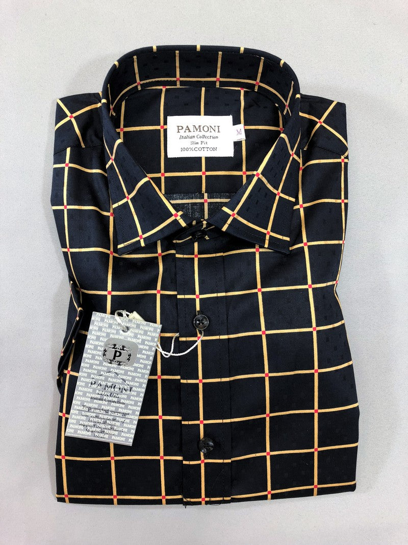 BLACK GOLD CHECK SHORT SLEEVES SHIRT