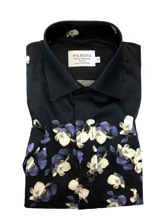 BLACK FLOWER PRINT SHORT SLEEVES SHIRT