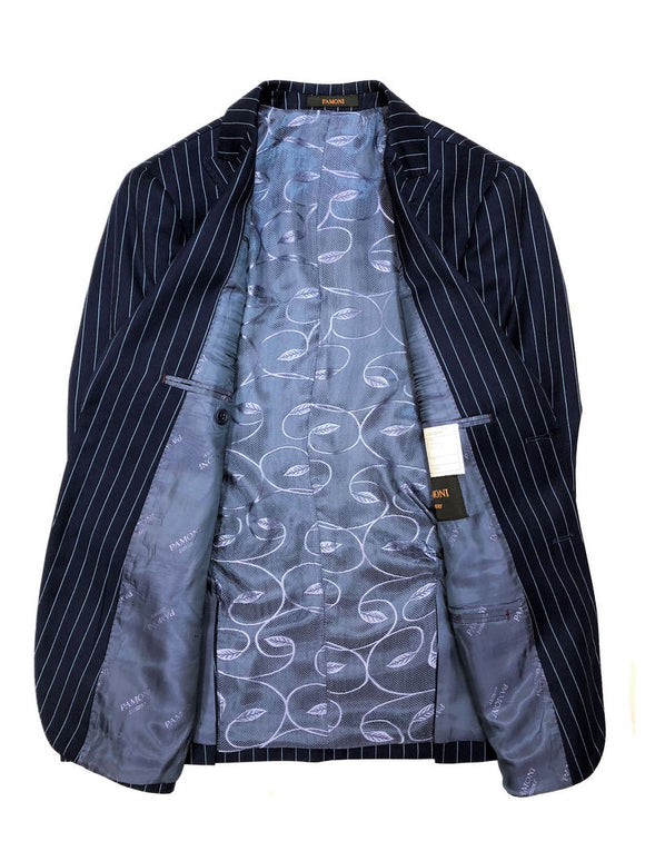 Blue Pinstripe Two Button 3-Piece Suit