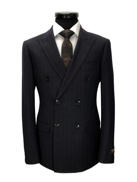 BLACK BROWN PINSTRIPE DOUBLE BREASTED SUIT
