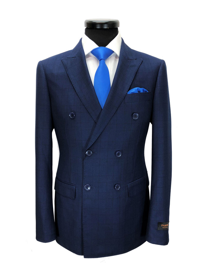BLUE PRINCE OF WALES CHECK DOUBLE BREASTED SUIT