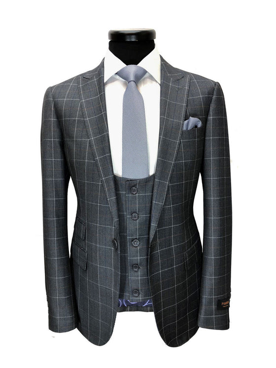 GREY CHECK ONE BUTTON 3-PIECE SUIT