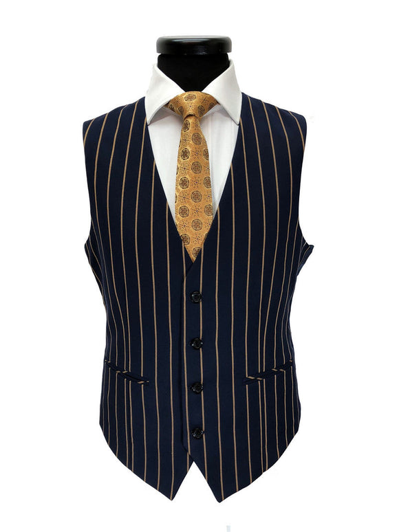 NAVY BROWN BOLD STRIPE 2-BUTTON 3-PIECE SUIT