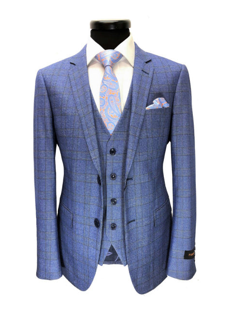 LIGHT BLUE PRINCE OF WALES CHECK 2-BUTTON 3-PIECE SUIT