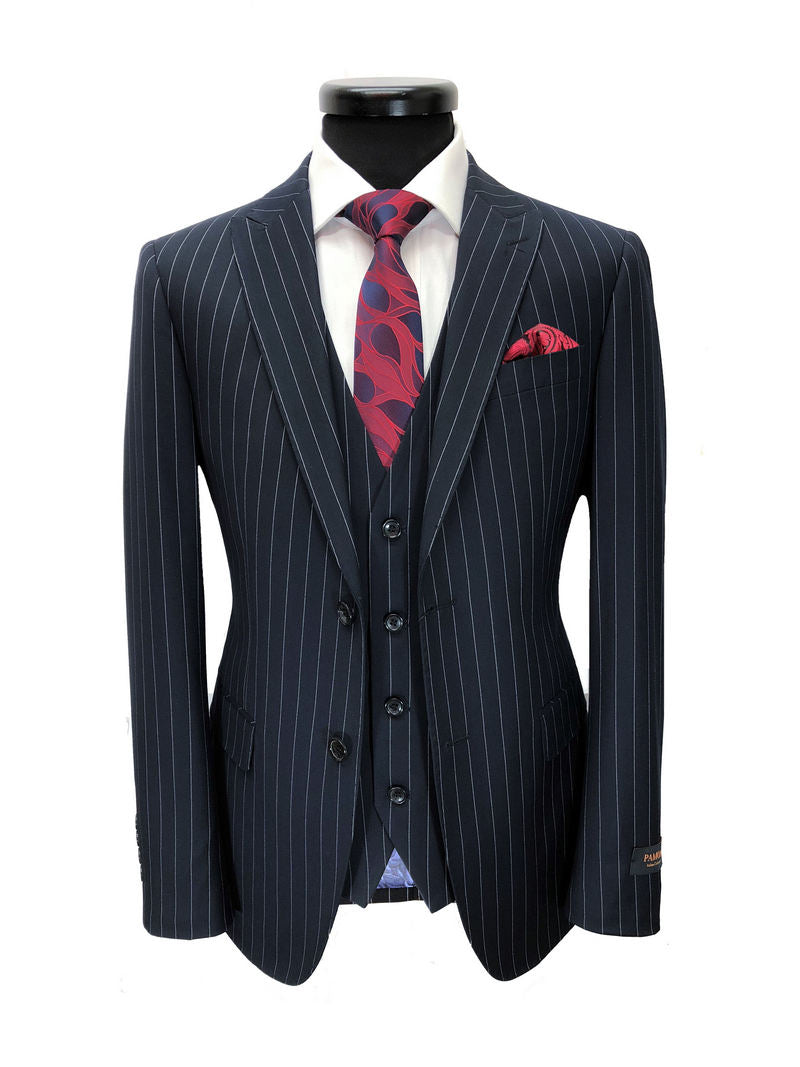 NAVY PINSTRIPE 2 BUTTON 3-PIECE SUIT