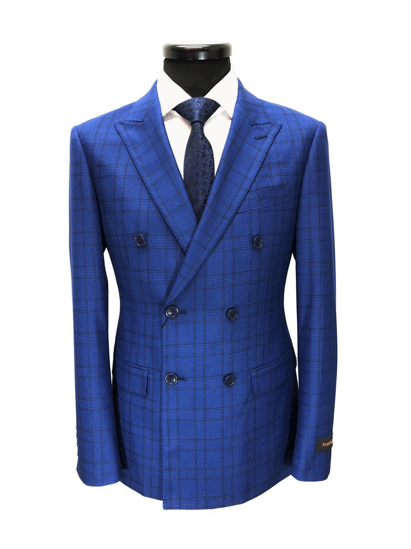 ROYAL BLUE PRINCE OF WALES CHECK DOUBLE BREASTED SUIT