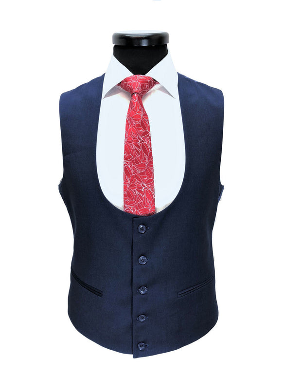 NAVY BIRDSEYE ONE BUTTON 3-PIECE SUIT