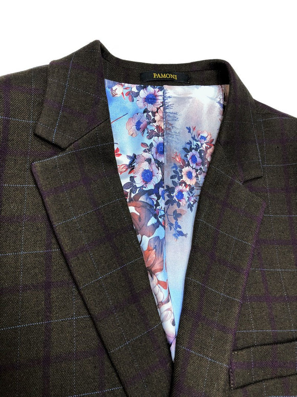 BROWN BURGUNDY CHECK TWEED BLAZER WITH MATCHING WAISTCOAT