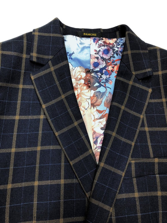 NAVY BROWN CHECK TWEED BLAZER WITH MATCHING WAISTCOAT