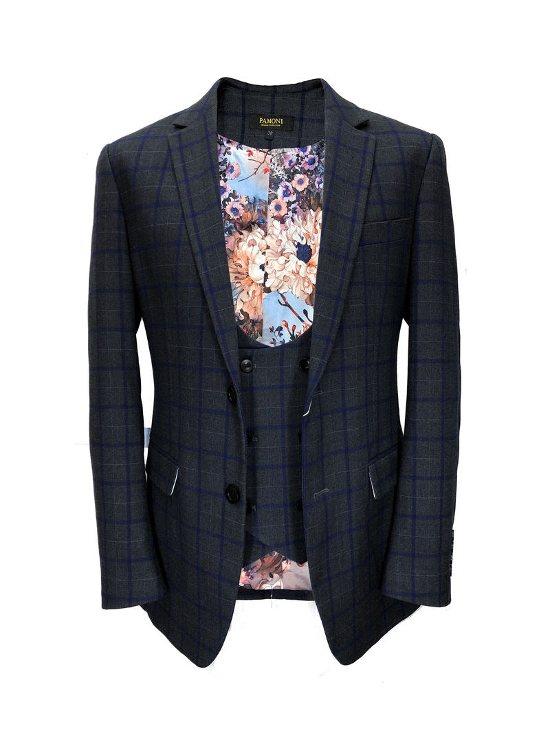 GREY BLUE CHECK TWEED BLAZER WITH MATCHING WAISTCOAT