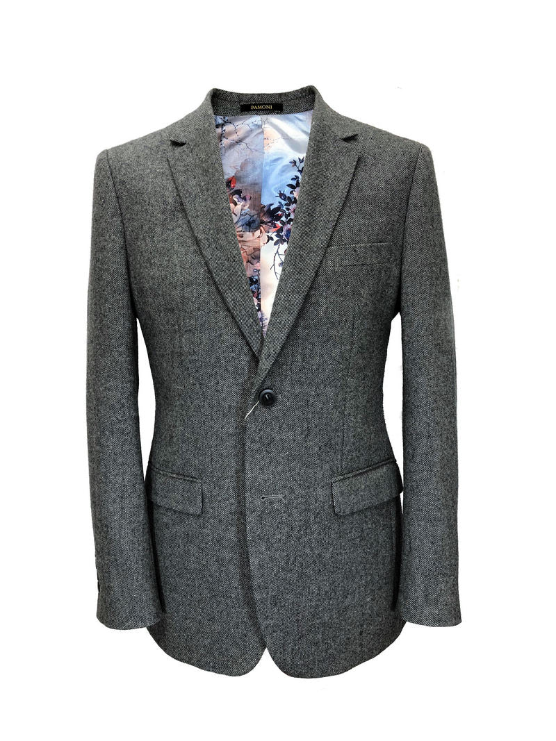GREY SLIM FIT TWEED BLAZER