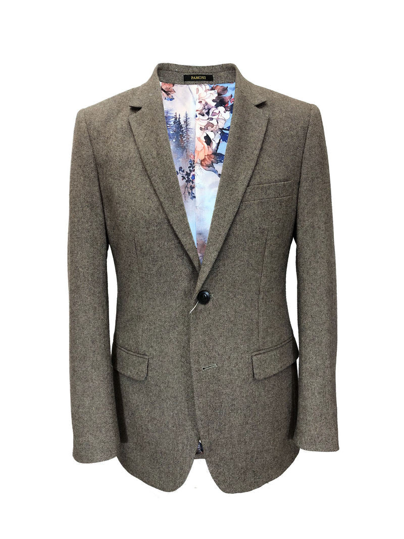 BROWN SLIM FIT TWEED BLAZER