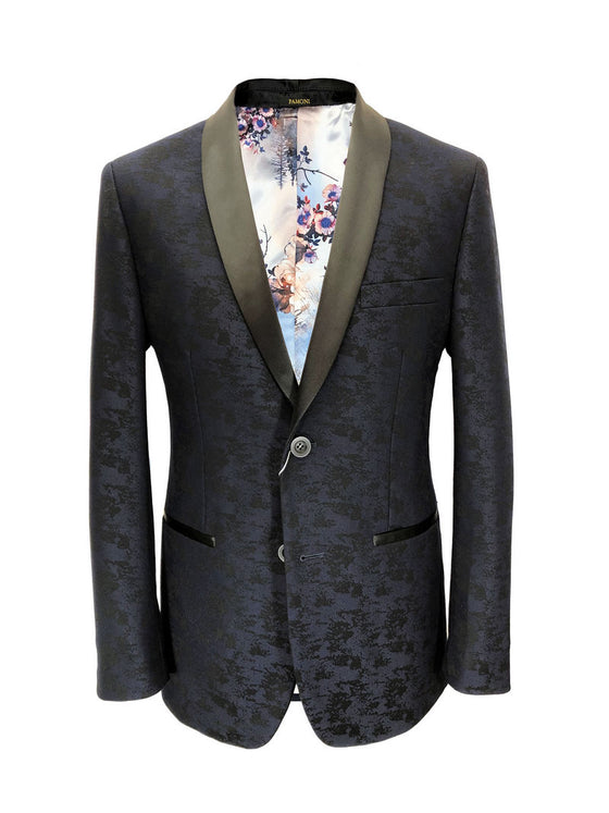 NAVY BLACK FLORAL PRINT DINNER JACKET