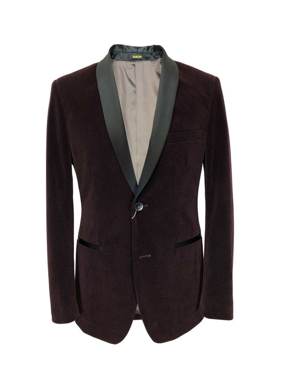 BURGUNDY SNAKESKIN EFFECT VELVET DINNER JACKET