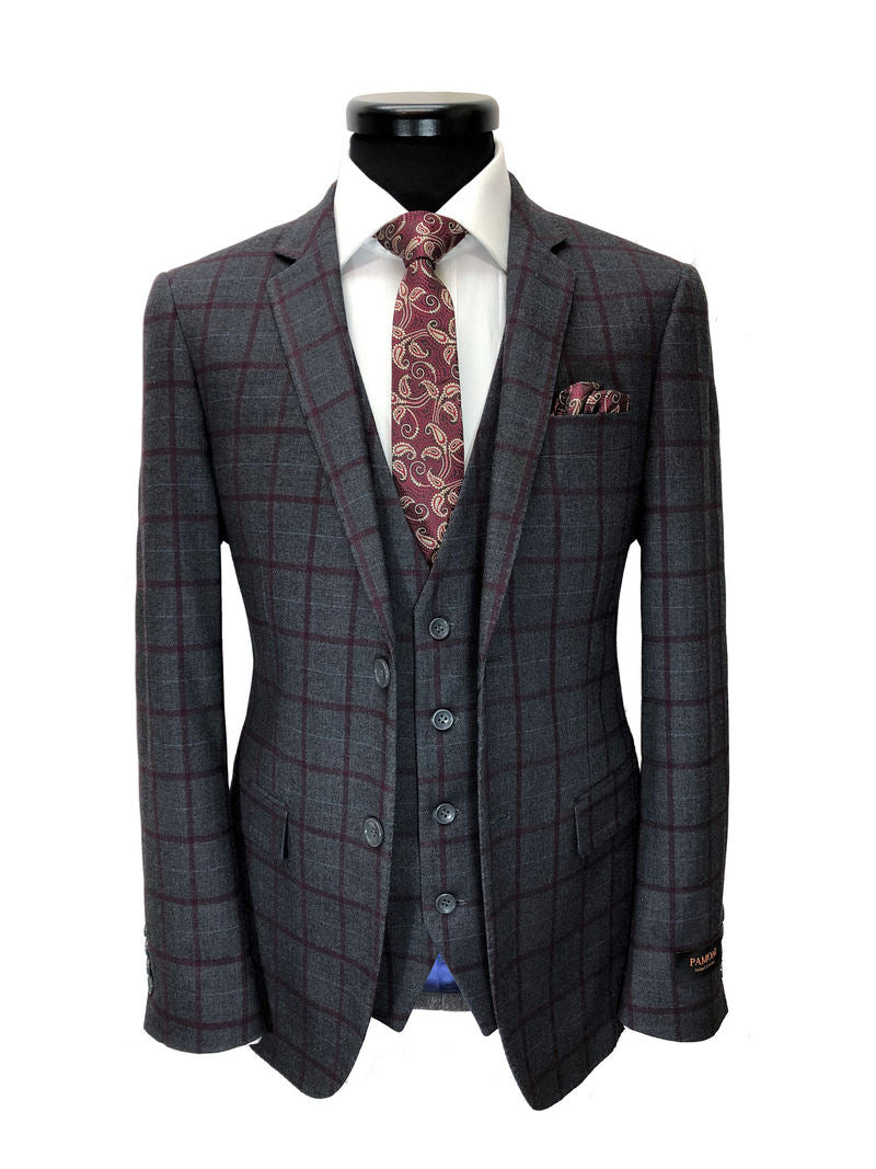 GREY & BURGUNDY CHECK 2 BUTTON 3-PIECE SUIT