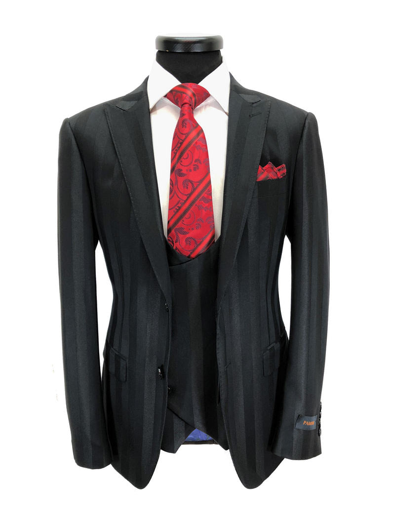 BLACK BOLD STRIPE 2-BUTTON 3-PIECE SUIT