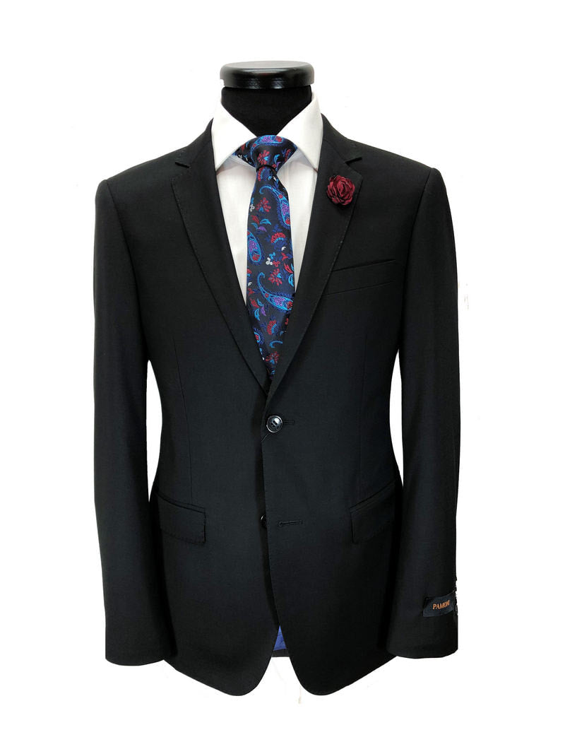 BLACK 2-BUTTON SLIM FIT SUIT