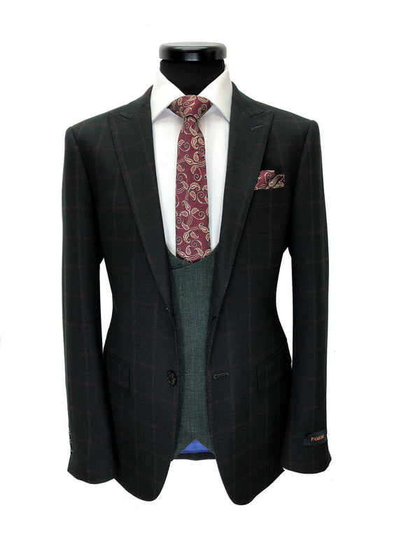 BLACK CHECK/GREY COMBINATION 3-PIECE SUIT