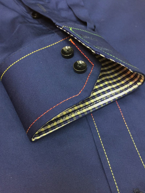 Navy With Colour Stitching Shirt