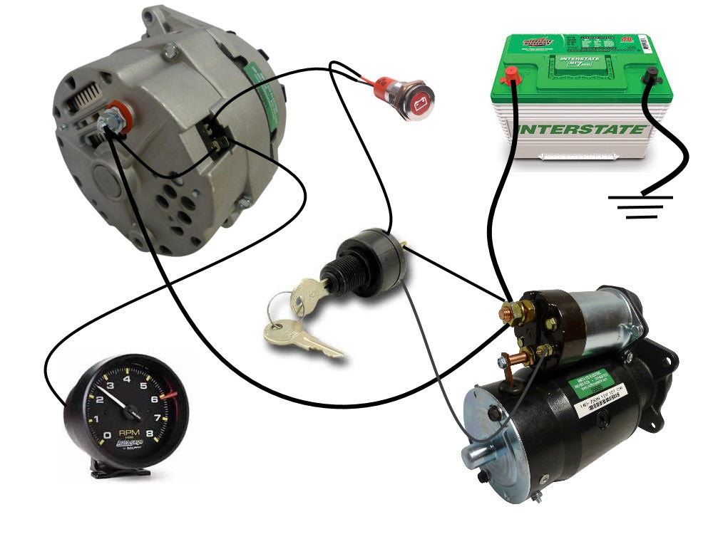 *this diagram shows the simple wiring diagram for negative ground delco si  series alternators *