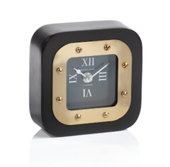 black and brass clock zodax