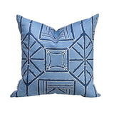 Decorative Throw Pillow in Blue and Navy Bamboo Trellis Pattern