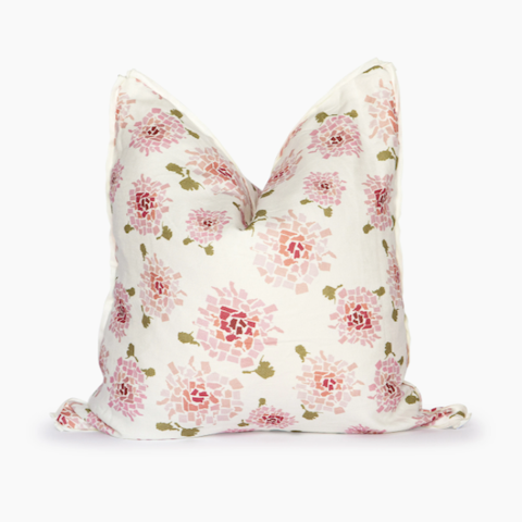 Blush Hydrangea Square Pillow