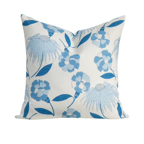 Decorative Throw Pillow in Blue and White Floral