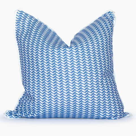 Herringbone Pillow in French Blue